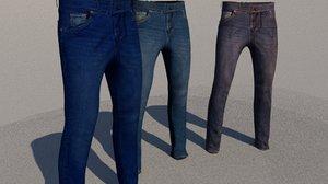 3D model man jeans