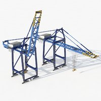 3D port container crane industrial