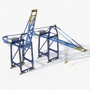 3D port container crane industrial