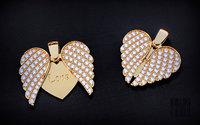 3D jewelry heart pendant wings