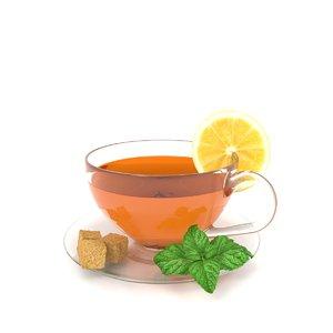 tea cup lemon mint 3D model