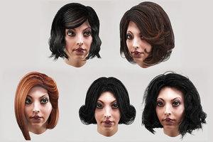 3D female hairstyles hair bob model