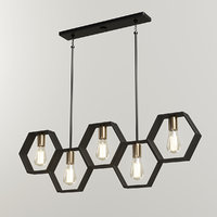 modern hexagon linear chandelier 3D model