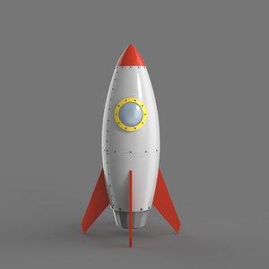 3D cartoon spaceship simple