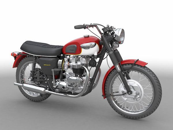 3D model british motorbike 60s