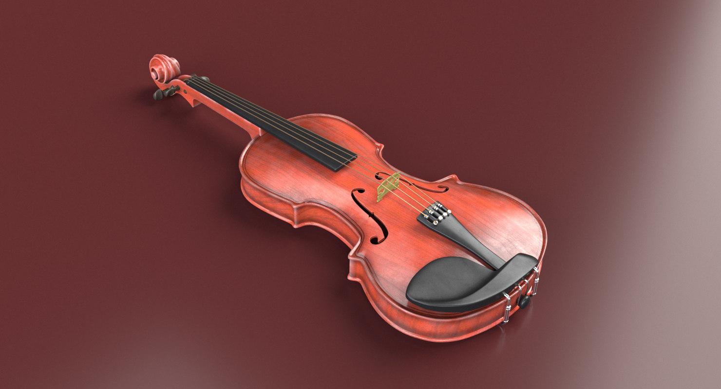 3D violin music instrument model