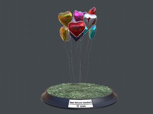3D model heart balloons valentine pack