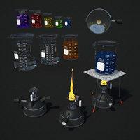 beakers tripod portable burner 3D model