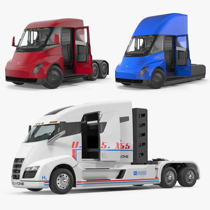 3D electric trucks rigged