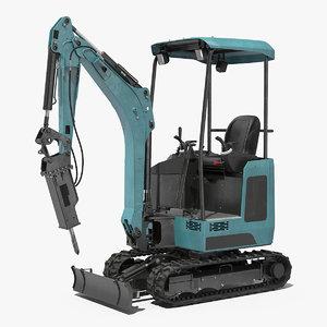 mini excavator breaker generic 3D model