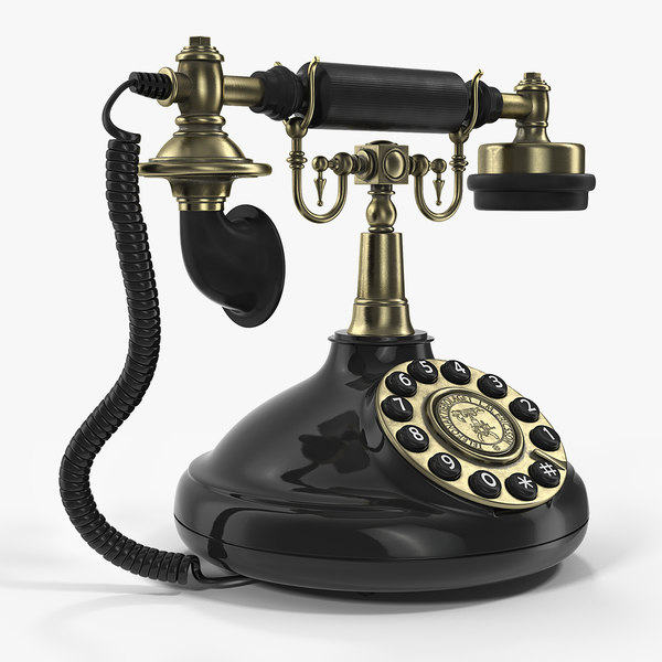 3D vintage antique telephone phone