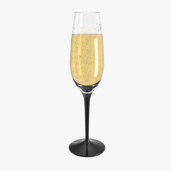 3D black stem champagne glass model
