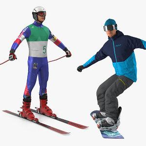 3D model skier snowboard man boards