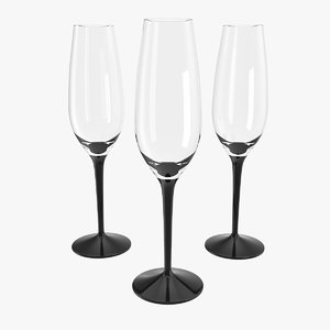 black stem champagne flute 3D model