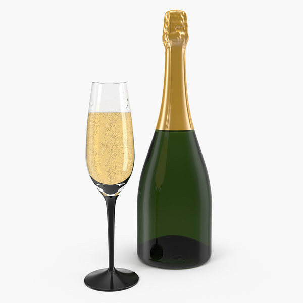 3D closed champagne bottle glass