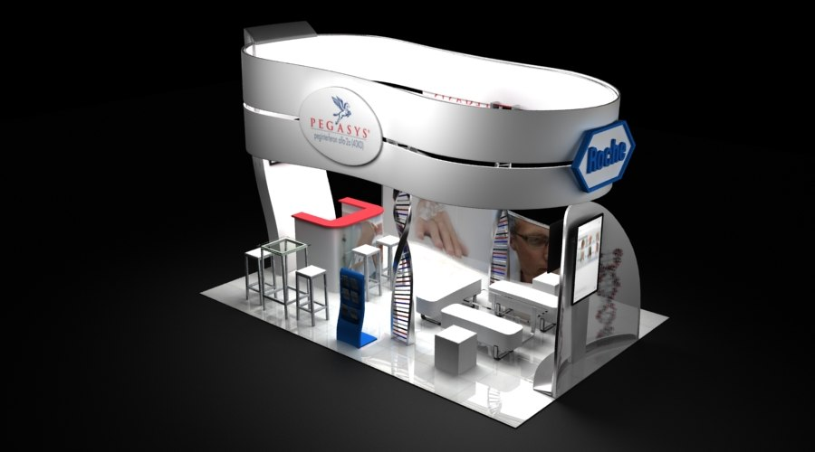 3D pharmaceutical stand dna theme