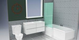 3D modern double vanity unit model