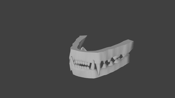 3D model low-poly teeth feline
