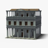 italian palace building grey 3D model