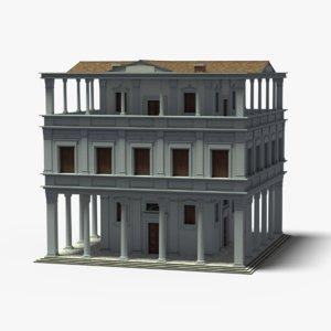 italian palace building grey 3D model