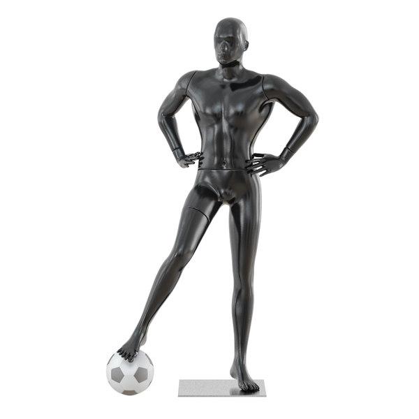 black mannequin soccer player 3D