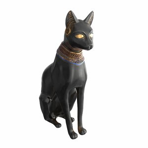3D model ancient egyptian cat statue