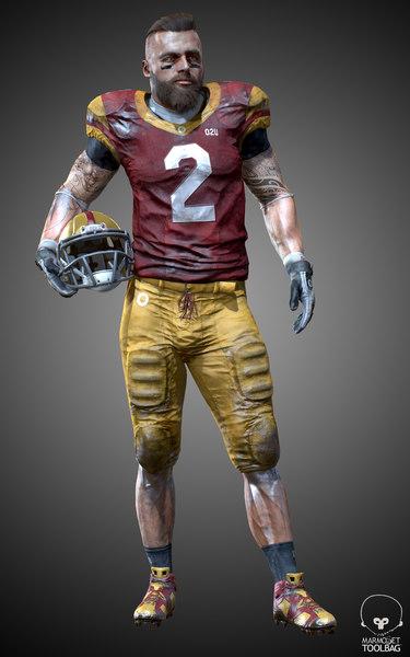 3D model player helmet animation
