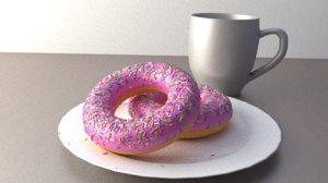 2 donuts mug model