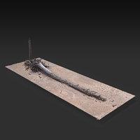 3D desert tree laying 05 model