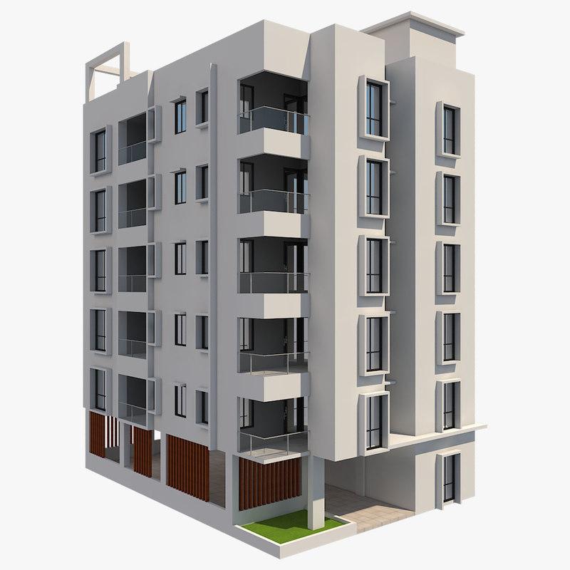3D model building apartment