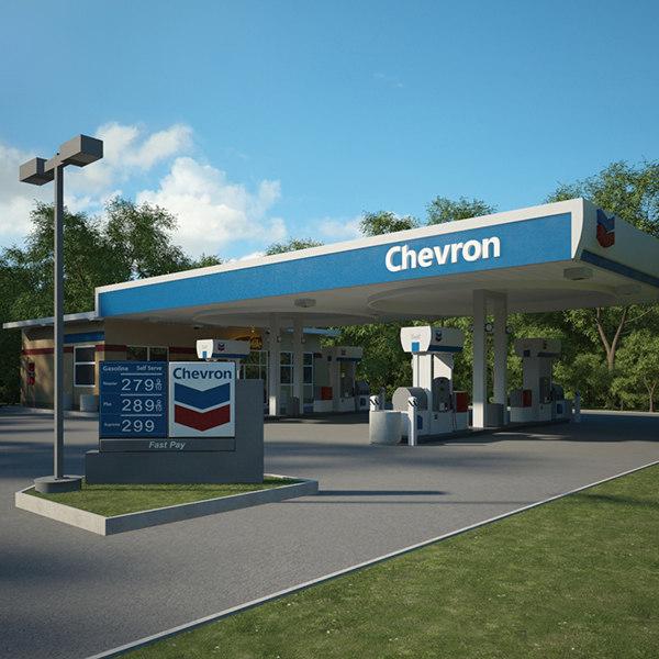 3D chevron gas station