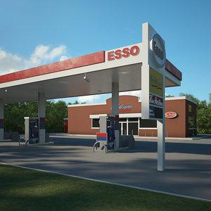 3D model esso gas station