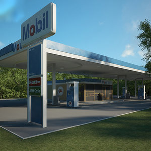 3D mobil gas station model