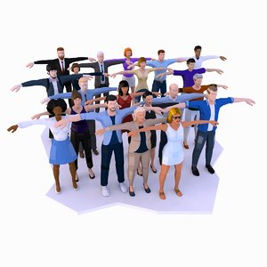 city people males females 3D model