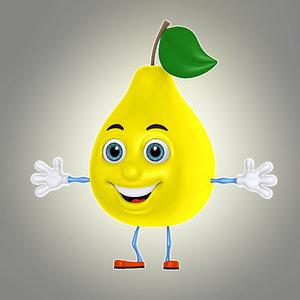 cartoon pear 3d model