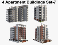 4 Apartment Buildings Set_7