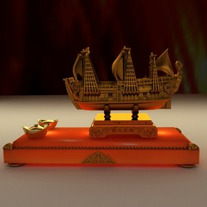 chinese junk ship yuanbao 3D model