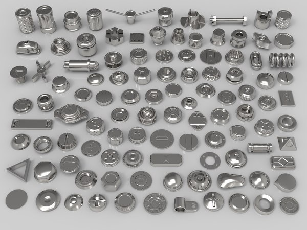 3D bolts knobs 108 pieces model