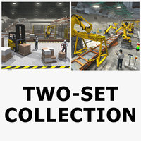 cargo warehouse robot factory 3D model