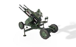 zpu-4 quadruple guns 3D model