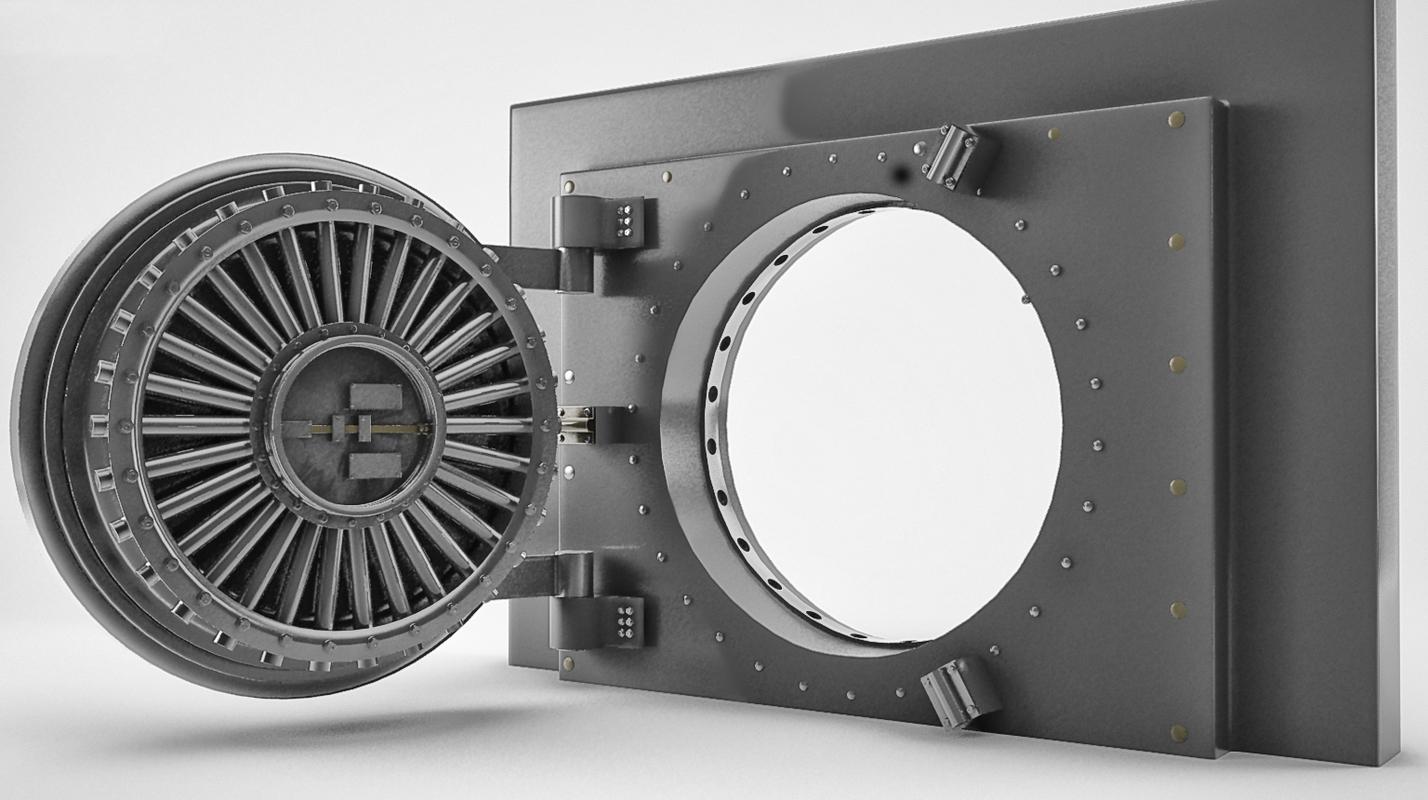 3D model bank door rigged