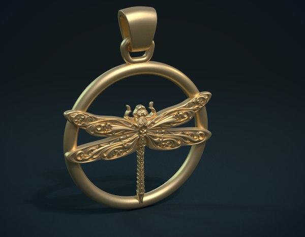 3D dragonfly pendant