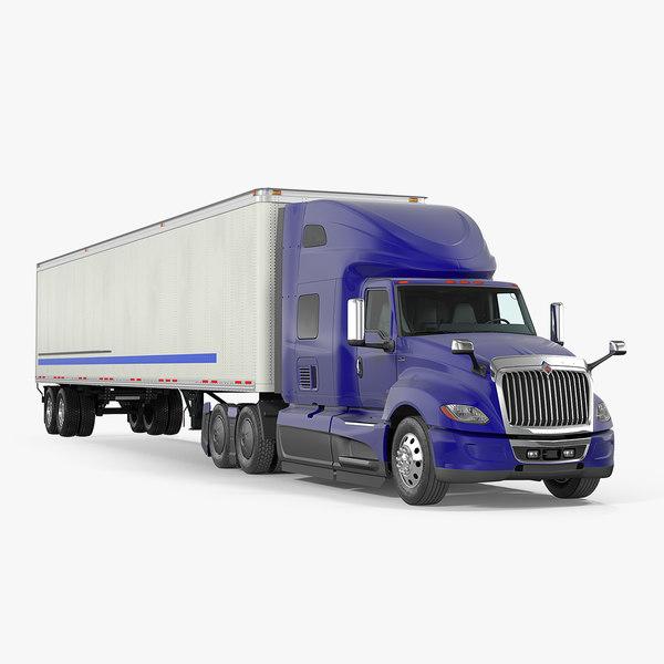 international lt625 semi trailer 3D model