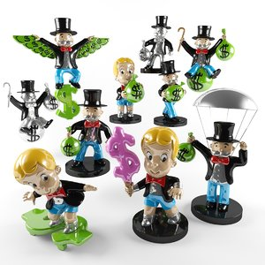 alec monopoly sculptures 3D model