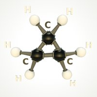 modeled cyclopropane molecular 3D model
