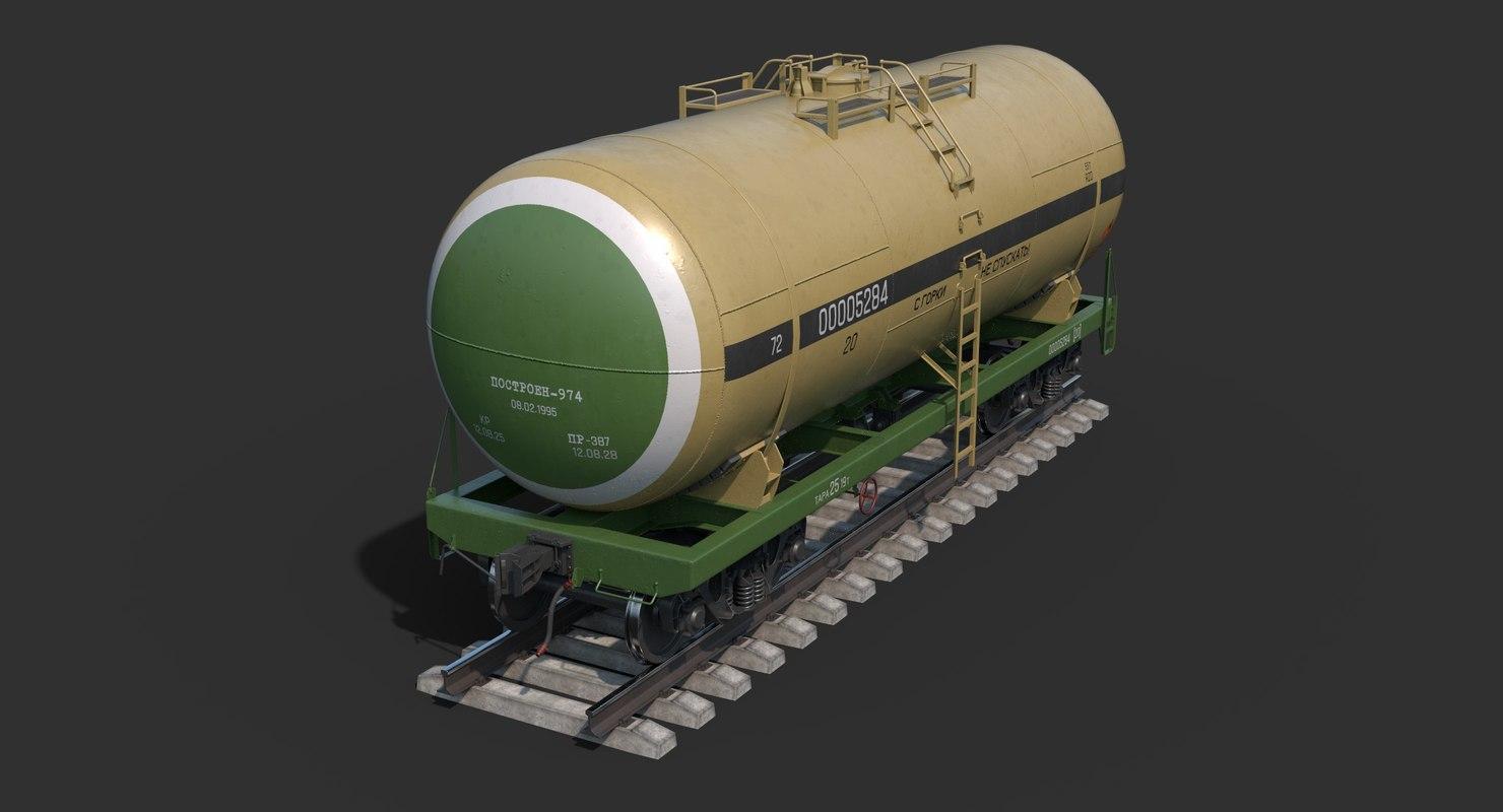 railroad tank car clear 3D model