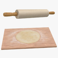 dough board rolling pin 3D model