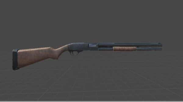 3D pump action shotgun unity