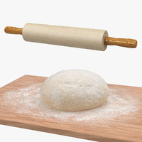 3D dough wooden board rolling model