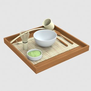 3D japan green tea set